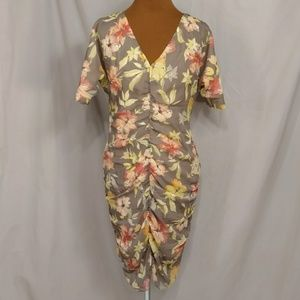 Sundance Silk Floral Dress Ruched Midi Feminine 4